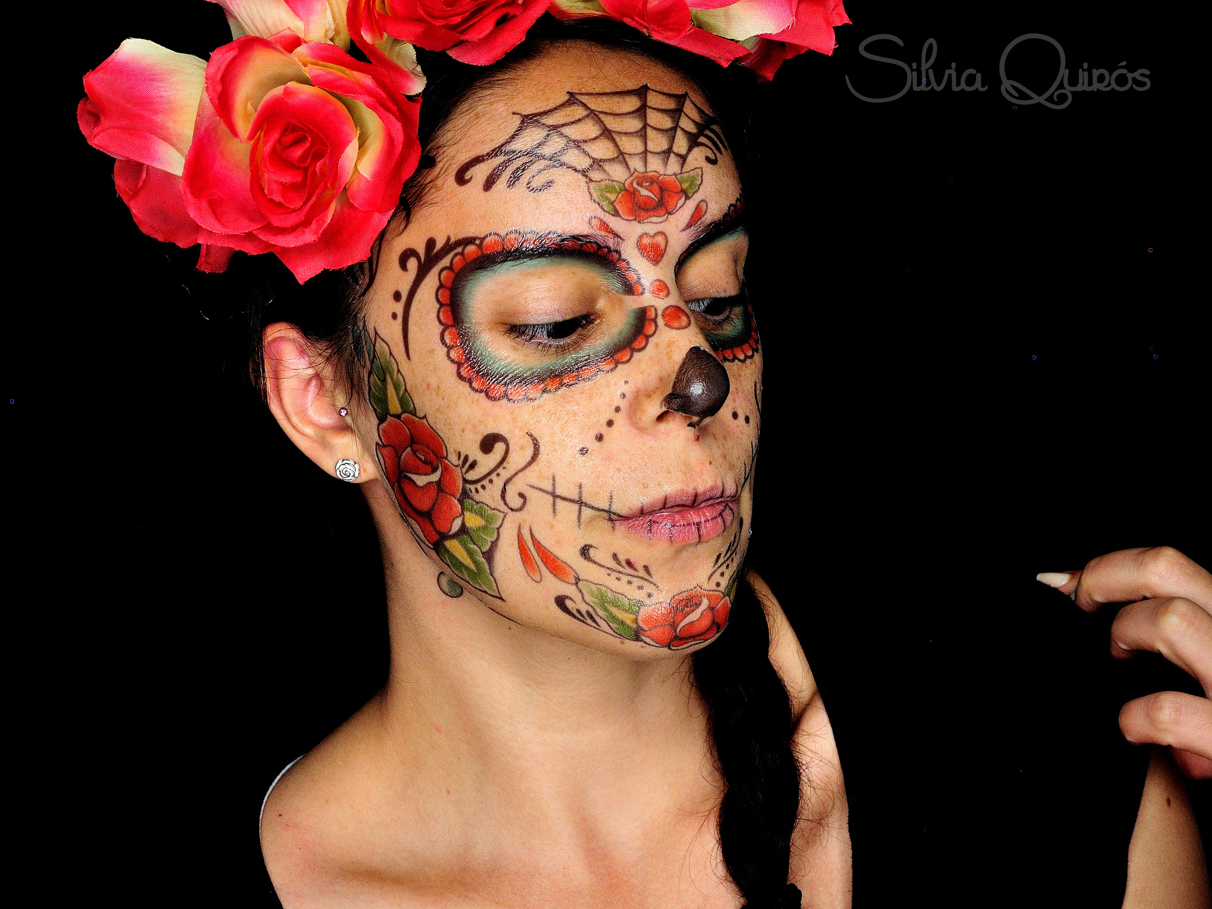 Sugar Skull makeup using temporary tattoos
