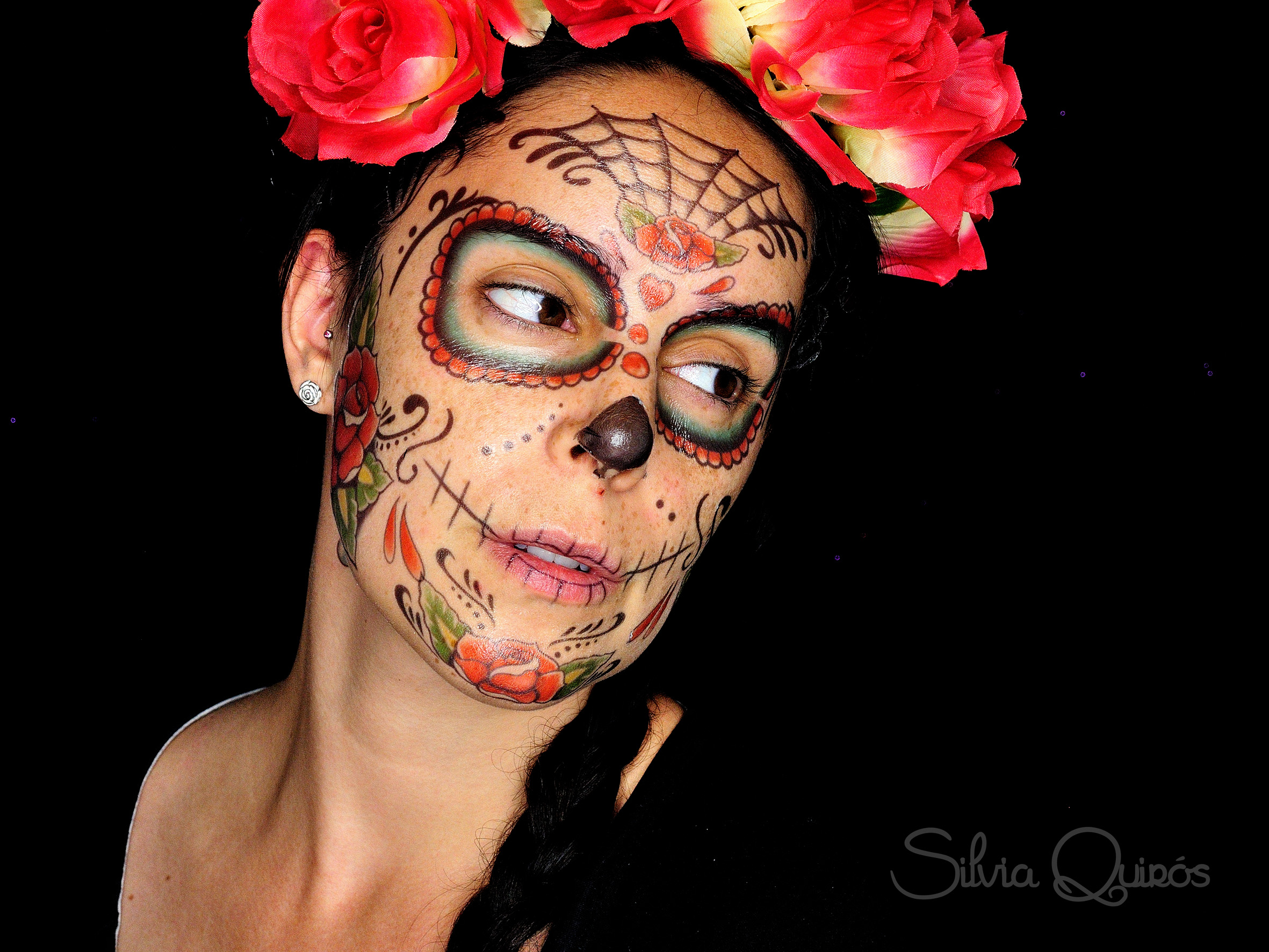 Maquillaje Catrina con temporary tattoos