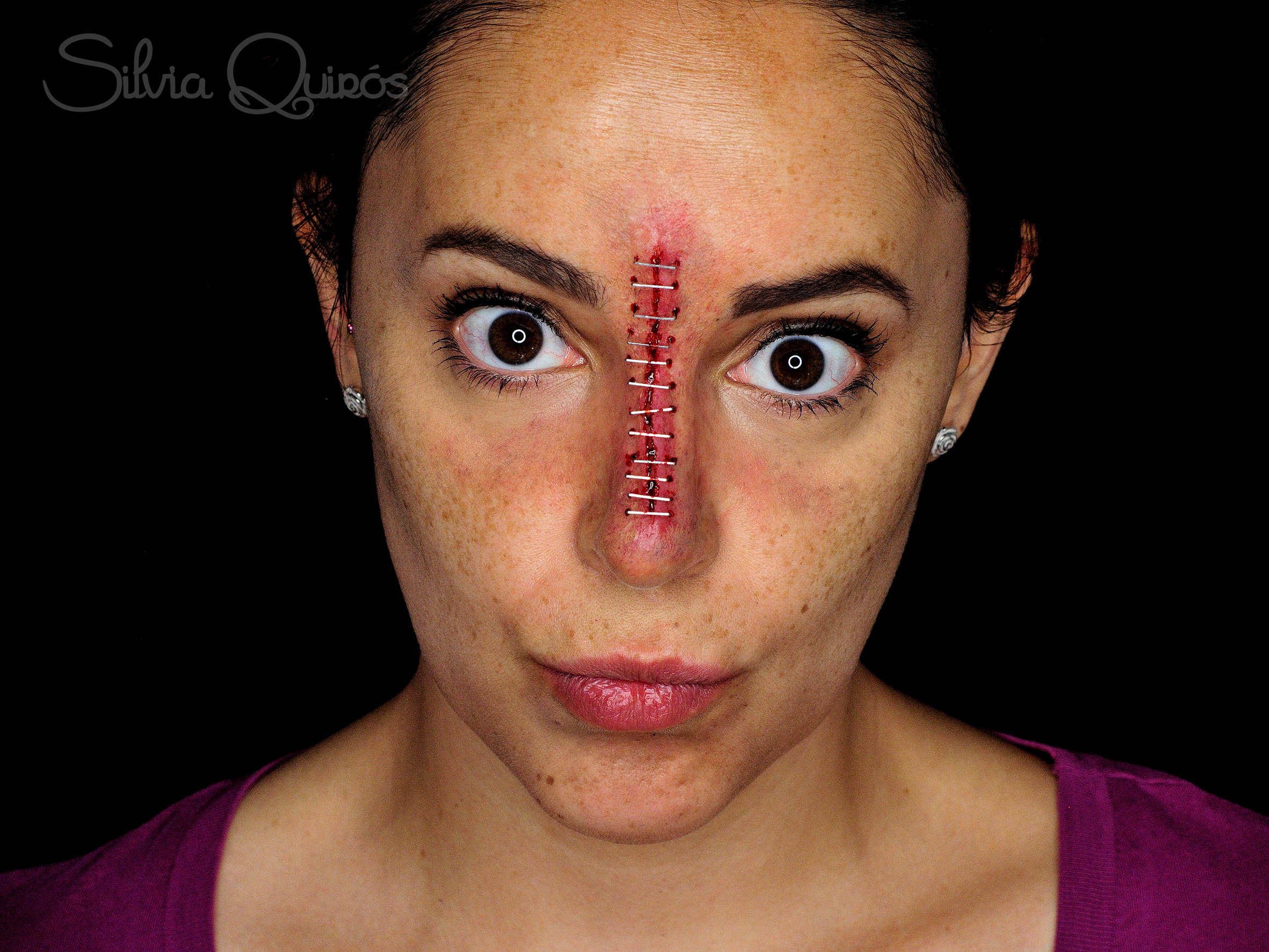Sliced open and stapled nose special effects