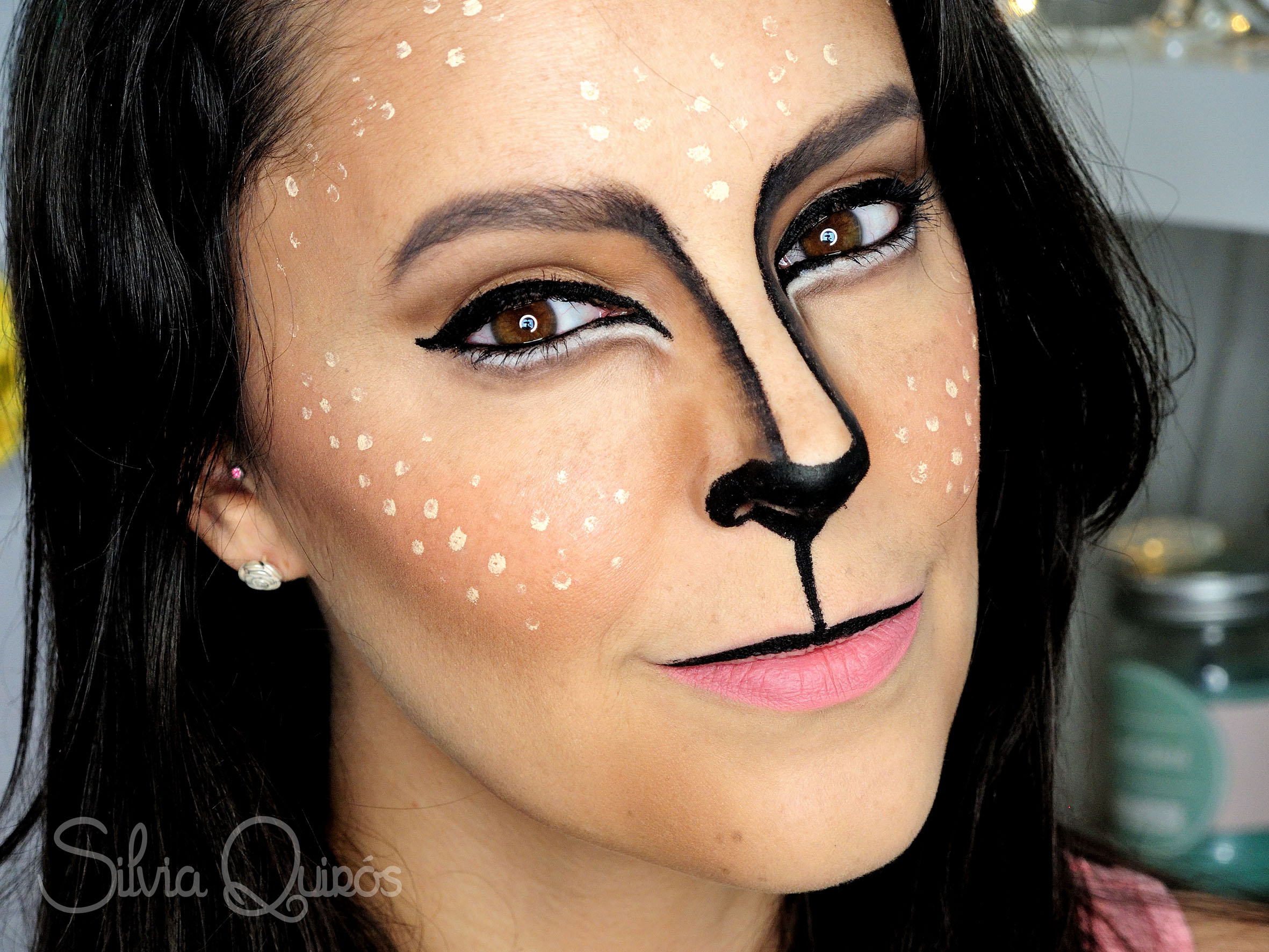 Cute reindeer makeup tutorial silvia quir s for Cara pintada diablo
