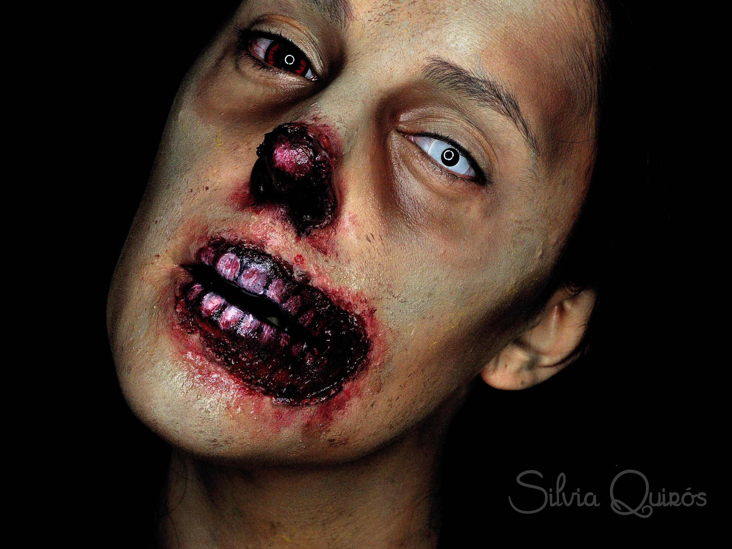 Maquillaje zombie sin nariz