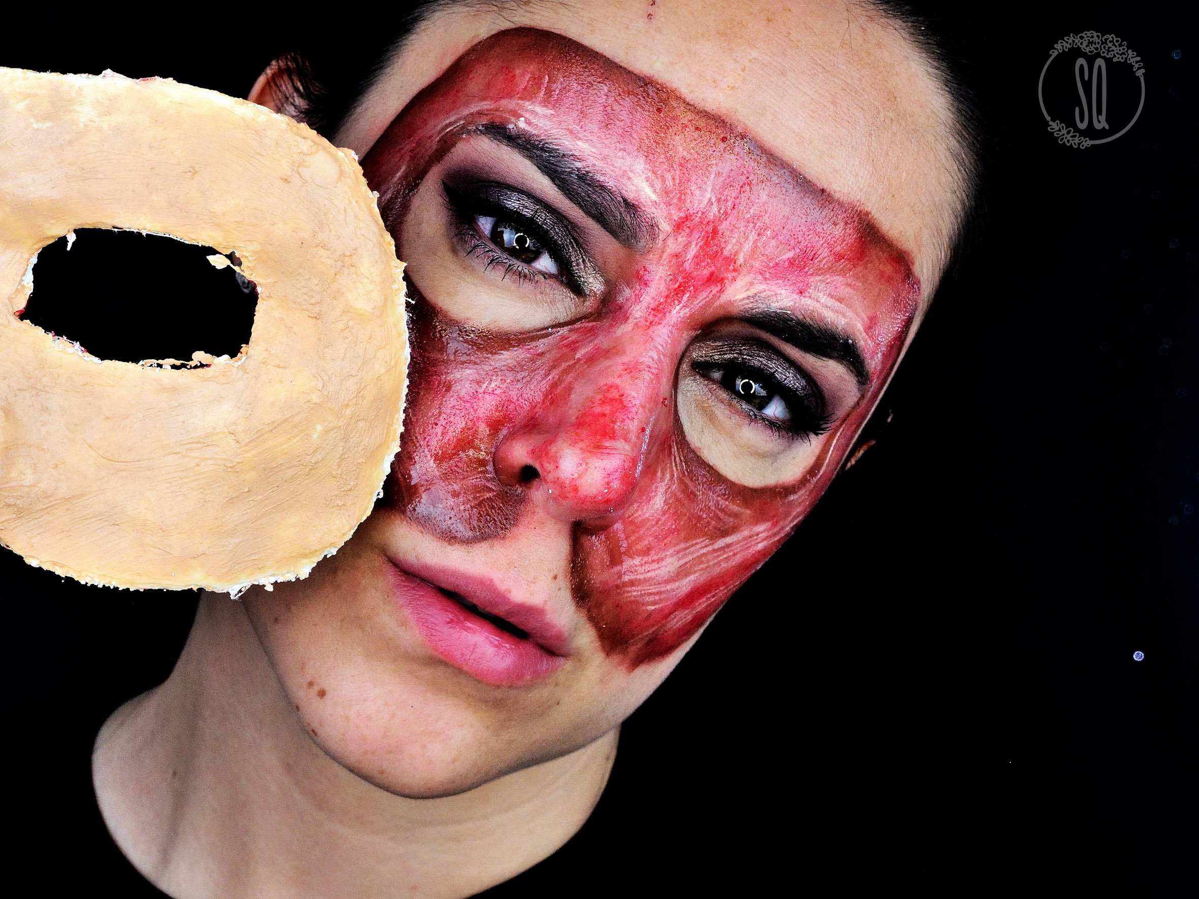 Mask made of flesh and face without skin tutorial for Halloween ...