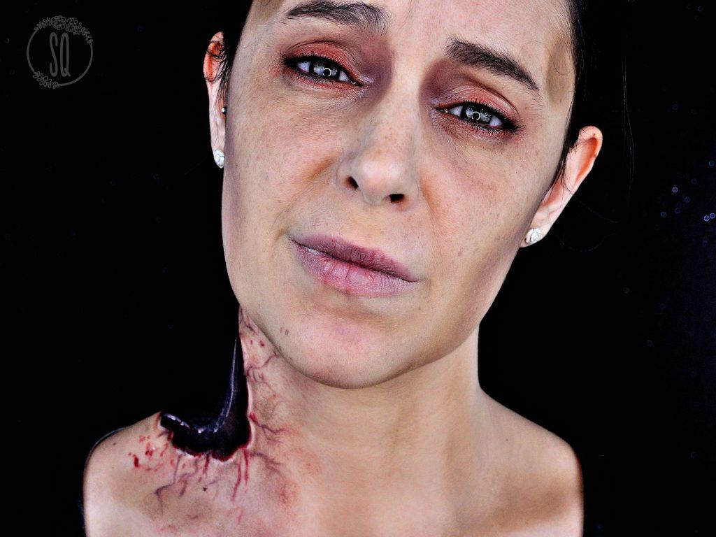 Tutorial maquillaje Zombie con cuello arrancado de mordisco