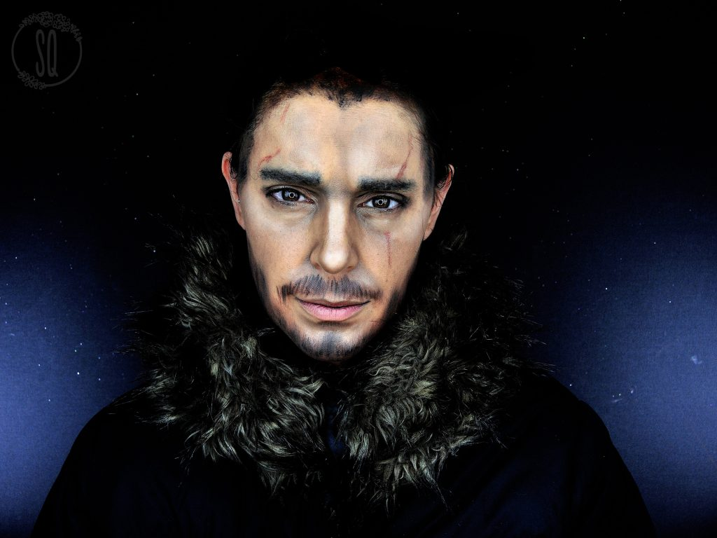 Transformation makeup into Jon Snow, Game of thrones serie