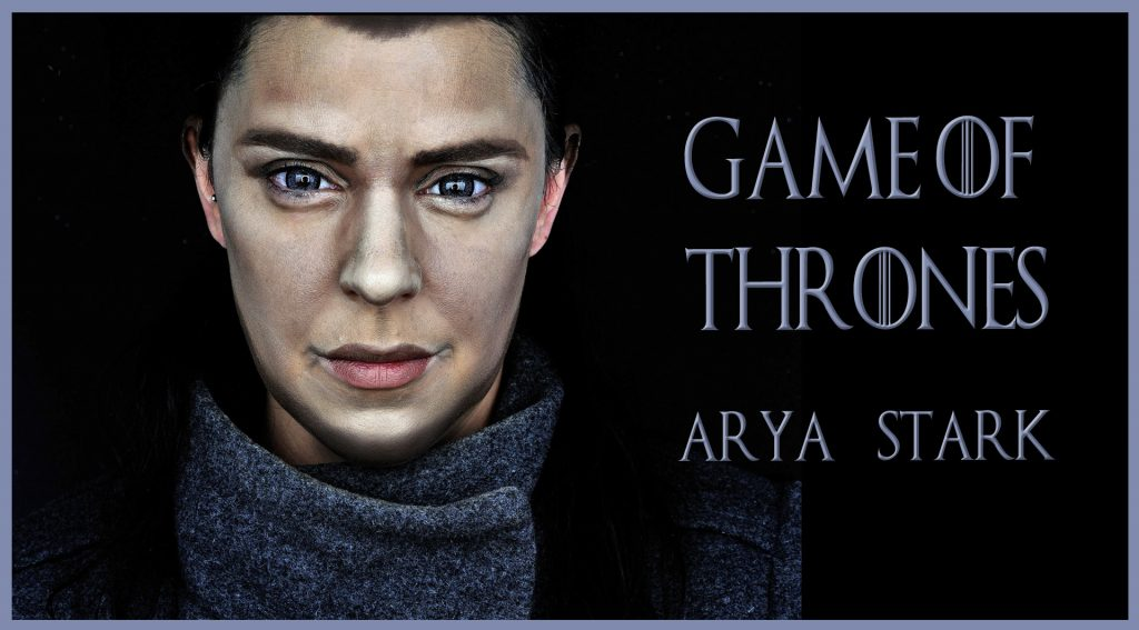 Makeup transformation into Arya Stark, serie Game of Thrones