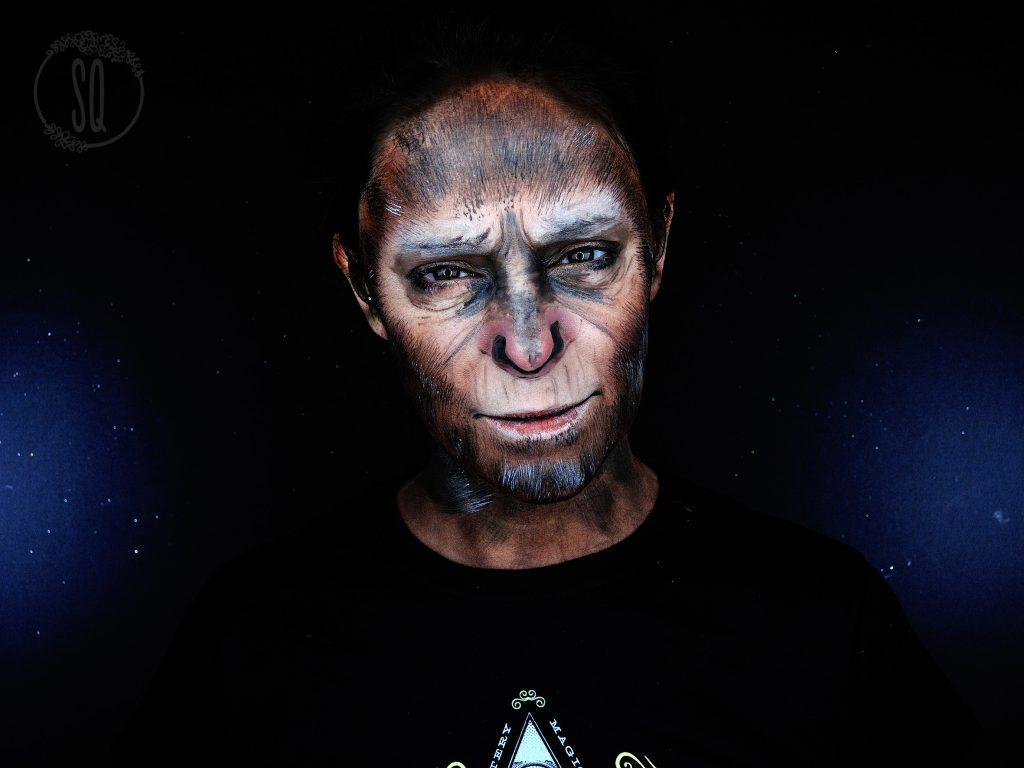Makeup transformation into Caesar from the Planet of the Apes
