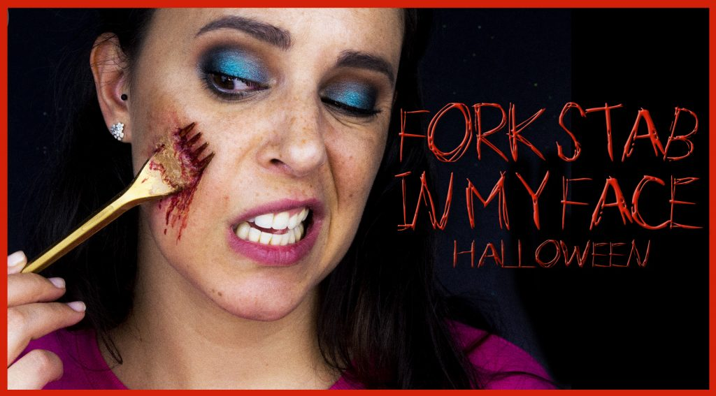Fork stab on my face effect, Halloween makeup