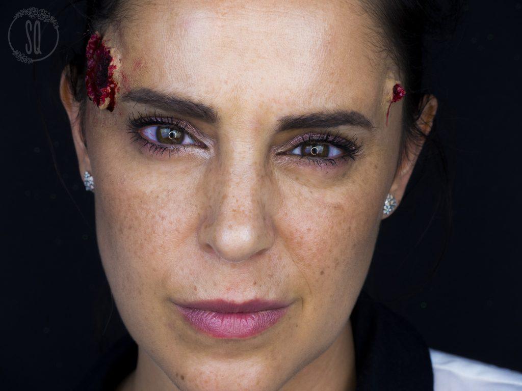 Entry and exit gun shut wound effect, Halloween makeup