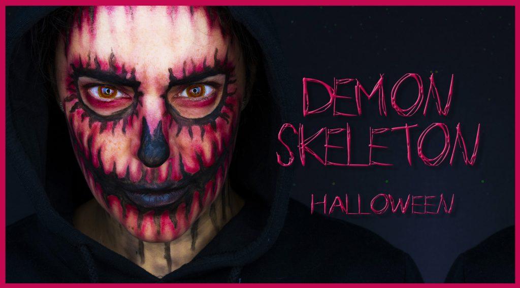 Skeleton demon makeup tutorial for Halloween