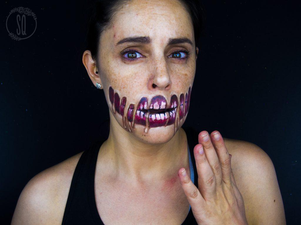 Efecto piel derretida, maquillaje Halloween