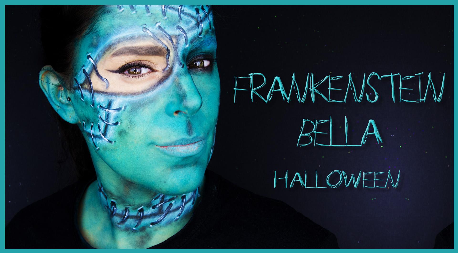 Beauty Frankenstein makeup tutorial, face paint