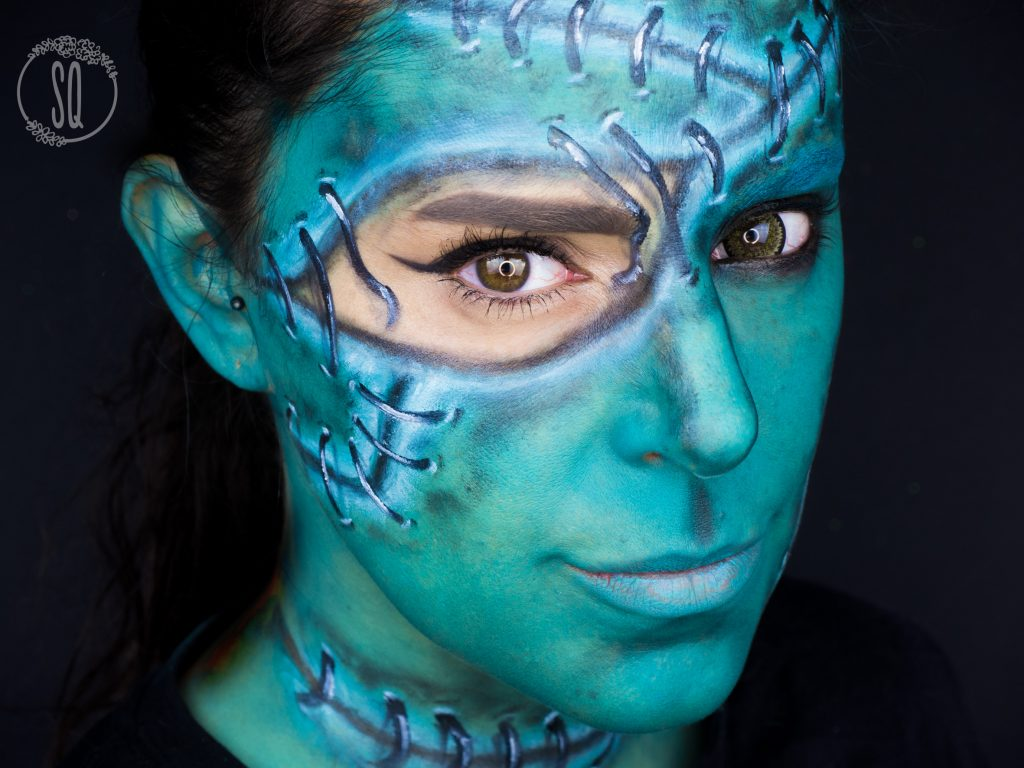 Beauty Frankenstein makeup tutorial, face paint