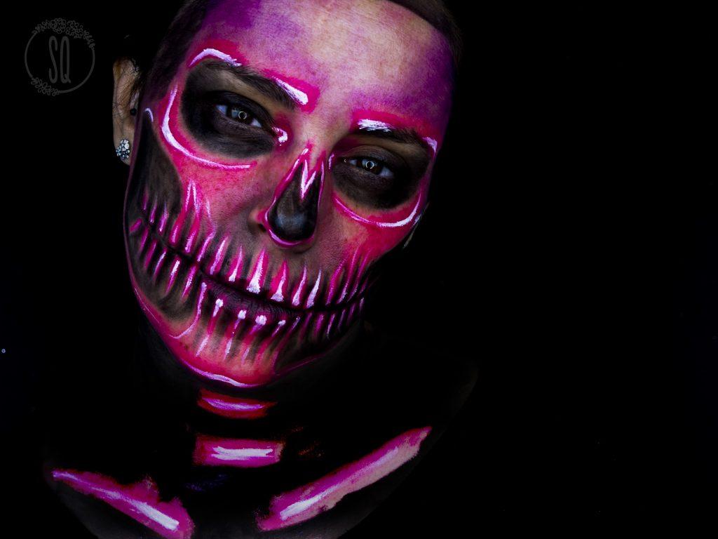 Neon skull makeup look